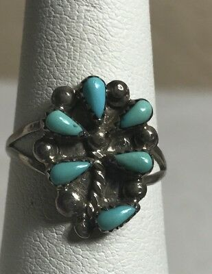 Zuni Sterling Silver Turquoise Flower Design Needle Point  Ring Size 6
