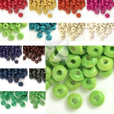 30g(400pcs Approx) Loose Wooden Spacer Wood Beads 3x6mm Rondelle WBSET04