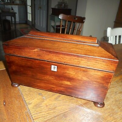 Antique 19th C Georgian English Mahogany Wooden Sarcophagus Shaped Tea Caddy Box