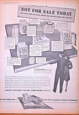 1944 full page WW2 newspaper ad, All Electric Kitchen of Tomorrow, Buy War Bonds