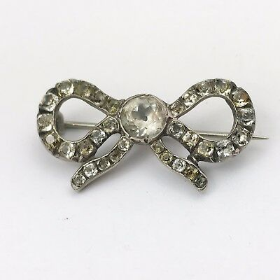 Antique Victorian Solid Silver Diamond Paste Set Ribbon Bow  Early Pin Brooch