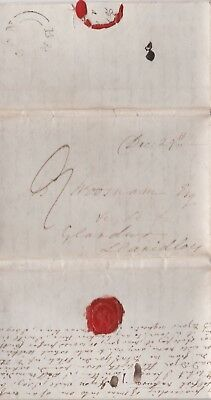 c1830s WALES BRECON UDC ON LONG LETTER SENT 9d TO Mr WOOSMAN AT LLANIDLOES POWYS