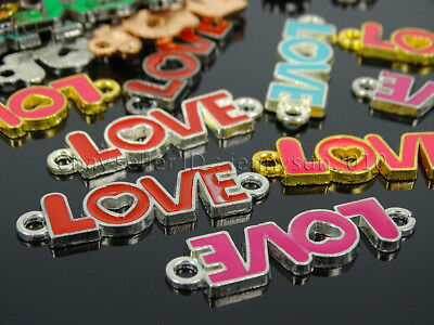 100Pcs Colorful Smooth Metal Love Wording Bracelet Connector Charm Beads Mixed