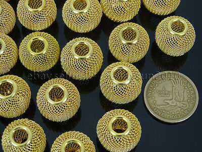 Auction 100Pcs Gold Large Mesh Bling Rondelle Ball Beads 17x20mm