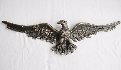 "Figural Eagle Wall Porch Decor Heavy Copper Collor Metal 35"" Wings Spread Huge"