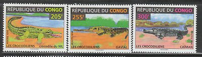 Congo #1133C-E MNH 1996 Crocodilians REALLY NICE! Cayman Gavial Crocodile