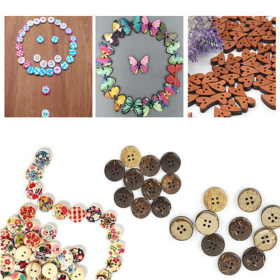 Lots Colourful Heart Flowers Buttons Wooden Resin Craft Sewing Scrapbook Cards