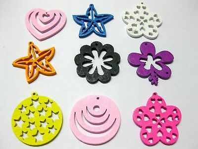 100 Assorted Bright Color Flatback Wood Cut-Out Charms Pendants 24mm
