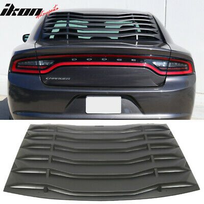 Fits 11-18 Charger Ikon Style Rear Window Louver Cover Vent Unpainted Black ABS