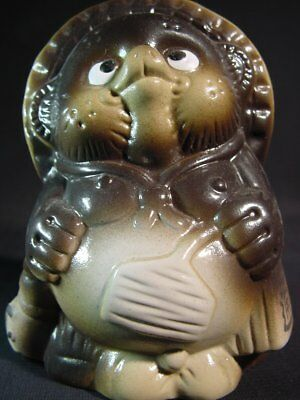 Japanese Pottery Tanuki Raccoon Badger Dog Good Luck Talisman Charm