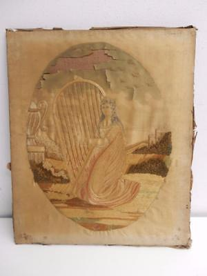 ANTIQUE old needle work embroidery SILK