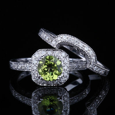 Vintage Antique Genuine Peridot Diamond Fine Ring Sets Solid 14K White Gold
