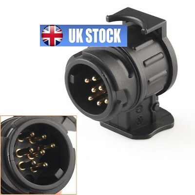 13 To 7 Pin 12V Trailer Adapter Plug Black Frosted Material Towbar Towing Socket