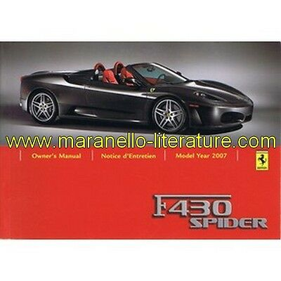 (4829) 2006 Ferrari F430 Spider owner's manual 2477/06 (US and Canada 2007)