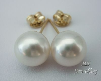 HS Round South Sea Cultured Pearl 10mm 14K Yellow Gold Stud Earrings Top Grading