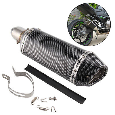 Motorcycle GP 38-51mm Carbon Fiber Exhaust Muffler Silencer Pipe Slip-On Scooter