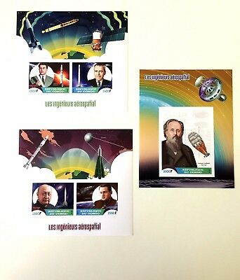 3 Congo Sheet Imperforated With Space And Scientists