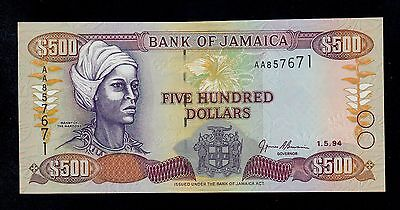JAMAICA 500  DOLLARS  1994  AA  PICK # 77a  UNC BANKNOTE.