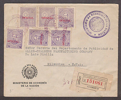 Paraguay - 1938 Registered official cover with 6 stamps mailed to USA