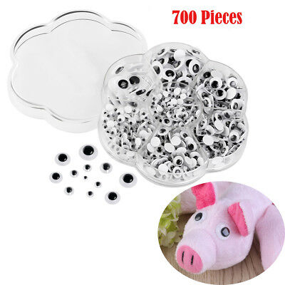 700Pcs Plastic GOOGLY Eyes For Teddy Bear Dolls Making Toy Craft Supplies 7 Size