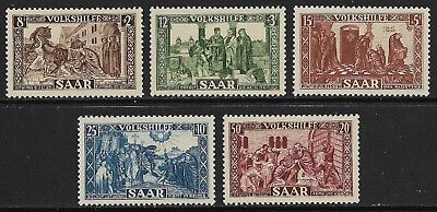 GERMANY 1950 Saar Relief Fund SG 296-300 MH/* (Cat £90)