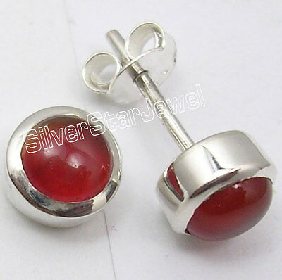925 Sterling Silver RED FIRE CARNELIAN LOVELY Stud Earrings 0.8 CM CUTE JEWELRY