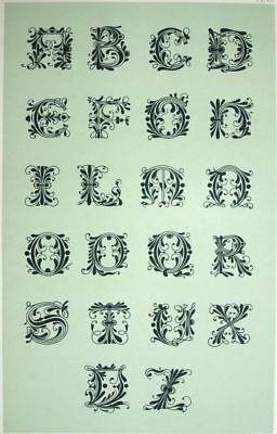 Typography antique Alphabet Spanish Decoration lithography 19th
