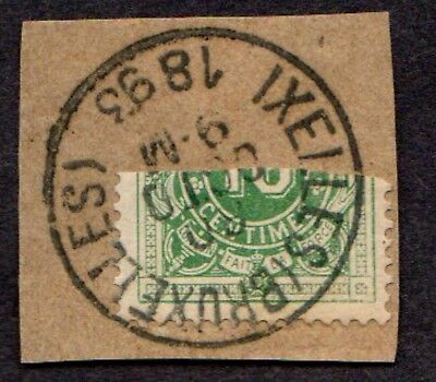 Stamp ~ BELGIUM DIAGONAL BISECT Bruxelles ~ 1893 On Paper