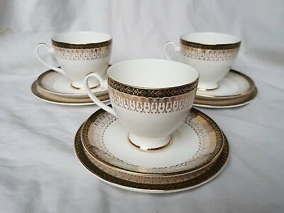 3 cups saucers side plates fine bone china Majestic Royal Grafton gold & green