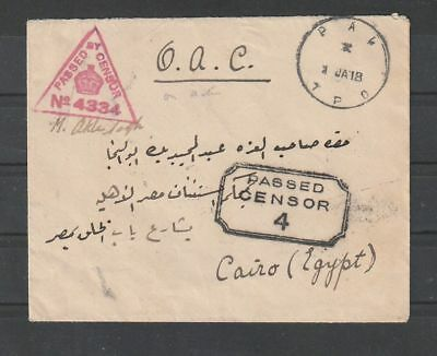 Military Mail Aden T.P.O. passed censor 4 cachet cover to Cairo Egypt