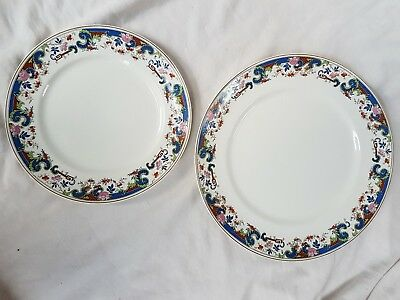 Dinner plate & side plate matching coloured design Alfred Meakin vintage