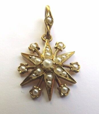 Antique Victorian 15Ct Gold & Seed Pearl Star Pendant