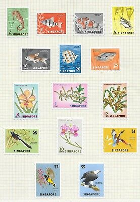 Singapore  Birds, Orchids, Fish  Definitives March 1962  Fine Mounted Mint