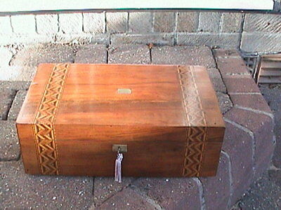 Superb Victorian Walnut & Parquetry Writing Slope - Complete