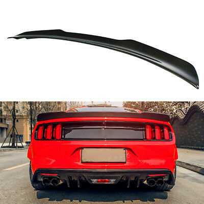 H Style Carbon Fiber Rear Trunk Spoiler Wing For 2015-2017 Ford Mustang GT