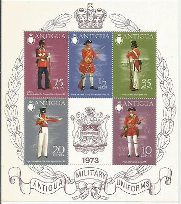 One Penny Arcade A Nice Antigua 1973 Military Uniforms 4 Series MS MNH