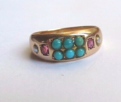 Antique 15Ct Gold Turquoise Ruby & Seed Pearl Ring Uk Size M