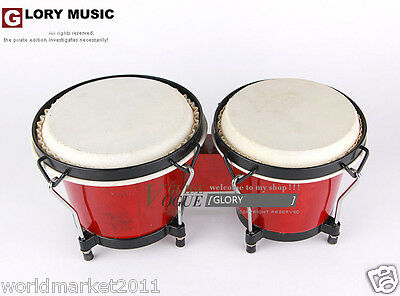 #7 Red Birch Pair Spray Painting High Quality Musical Instruments Bongo Drums