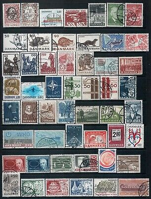 DENMARK - Mixed lot of 52 Stamps, most Good - Fine Used, LH