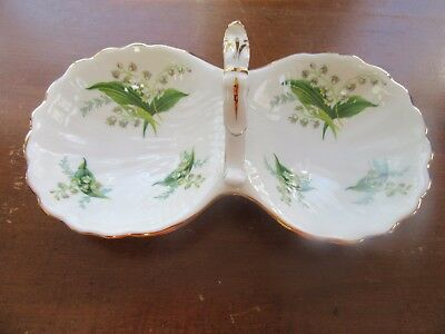 Spode Hammersley Lily of Valley Handled Canapy Tidbit Nut Dish 9""