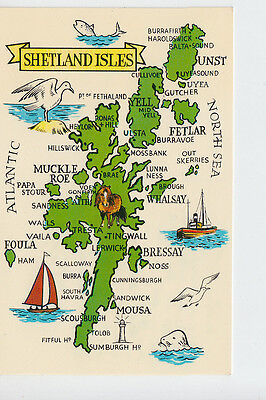 Shetland Isles map postcard P/used from Haroldswick most northerly P.O.