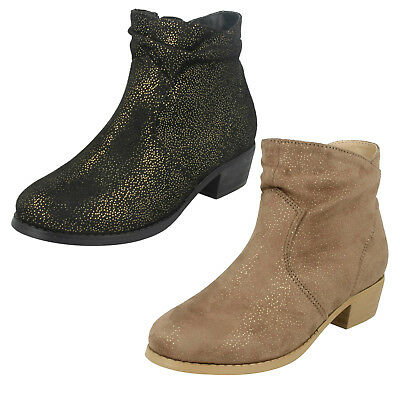 Wholesale Girls Mid Heel Rouched Ankle Boots / 16 Pairs / Sizes 10-2 / H5082