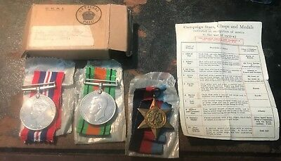 Ww2 Medals Airman Thompson From Wembley. 3 Medals , Box & Certificate.