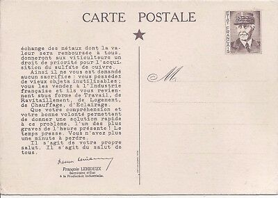 France 1941 Vichy Government facimile stationery with propaganda message unused