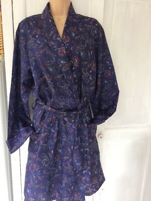 Mens Vintage Blue Paisley Dressing Gown/smoking Jacket Sz Large