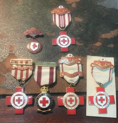 BRITISH Red Cross MEDALS. FIRST AID IN CHEMICAL WARFARE ,  ST MARYLEBONE ETC.