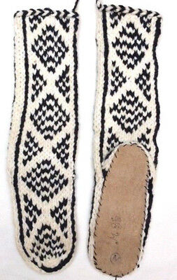FAIRTRADE wool mix HAND knitted AFGHAN slipper SOCKS leather SOLE size 6-7-8 M35