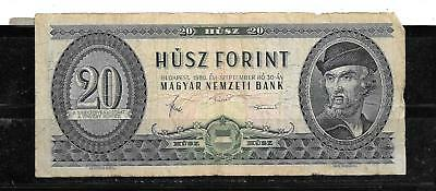 HUNGARY #169g 1980 20 FORINT VG USED OLD BANKNOTE PAPER MONEY CURRENCY BILL NOTE