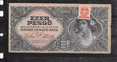 Hungary #118 1945 1000 Pengo Old Vg Used Banknote Paper Money Currency Note