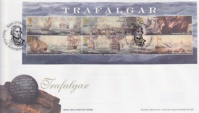 Gb Stamps Mini Sheet First Day Cover 2005 Trafalgar Nelson Rare Pmk Collection